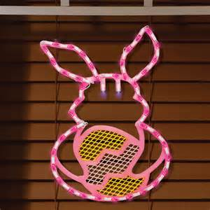 easter decorations easter bunny on egg lighted window