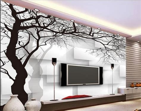 Wallpaper Sticker Motif Minimalis Black Square wall paper black and white tree box non woven wallpaper mural wall stickers wallpaper papel de