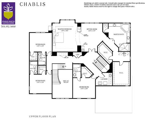 upper floor plan chablis b we build on your lot stanley martin custom homes