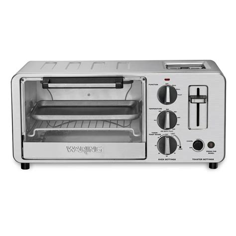 Toaster Oven Stainless Steel waring pro stainless steel toaster oven with built in 2 slice toaster cutleryandmore