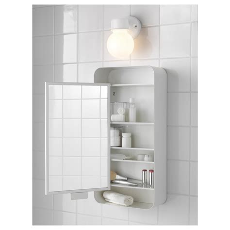 Gunnern Mirror Cabinet With 1 Door White 31x62 Cm Ikea Mirrored Bathroom Cabinet With Shelves