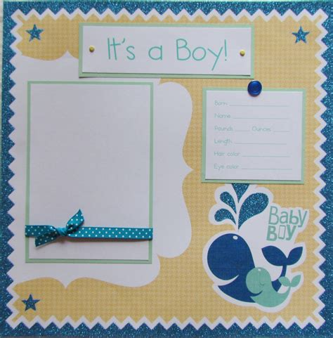 scrapbook layout baby boy it s a boy baby 12x12 premade scrapbook page