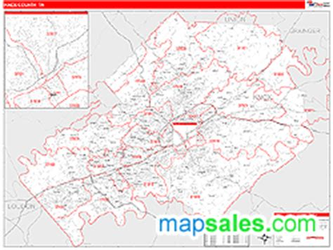 Zip Code Map Knox County Tn | knox county tn zip code wall map by marketmaps from