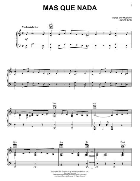 Piano Tutorial Mas Que Nada | mas que nada sheet music by sergio mendes piano vocal