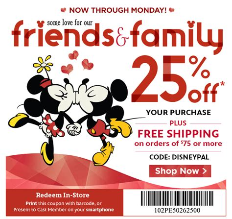 disney outlet printable coupons disney store take 25 off during friends family sale