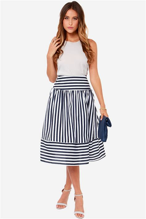 Navy Stripes Skirt joa striped skirt navy blue skirt skirt 87 00