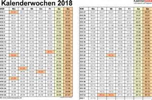 Kalender 2018 Mit Kalenderwochen Kalenderwochen 2018 Mit Vorlagen F 252 R Excel Word Pdf