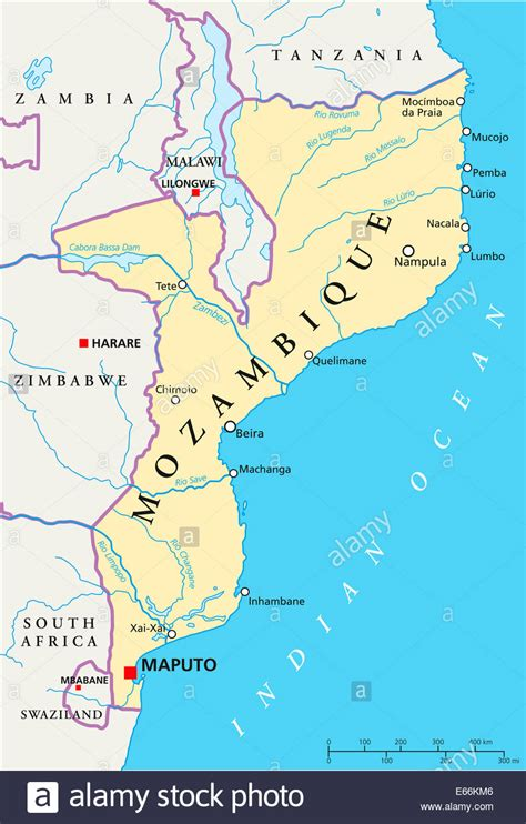 map of mozambique cities mozambique political map with capital maputo with