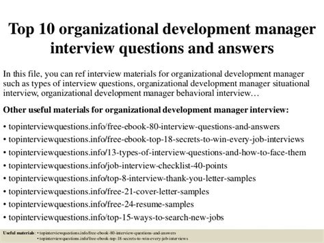 top 10 organizational development manager questions and ans