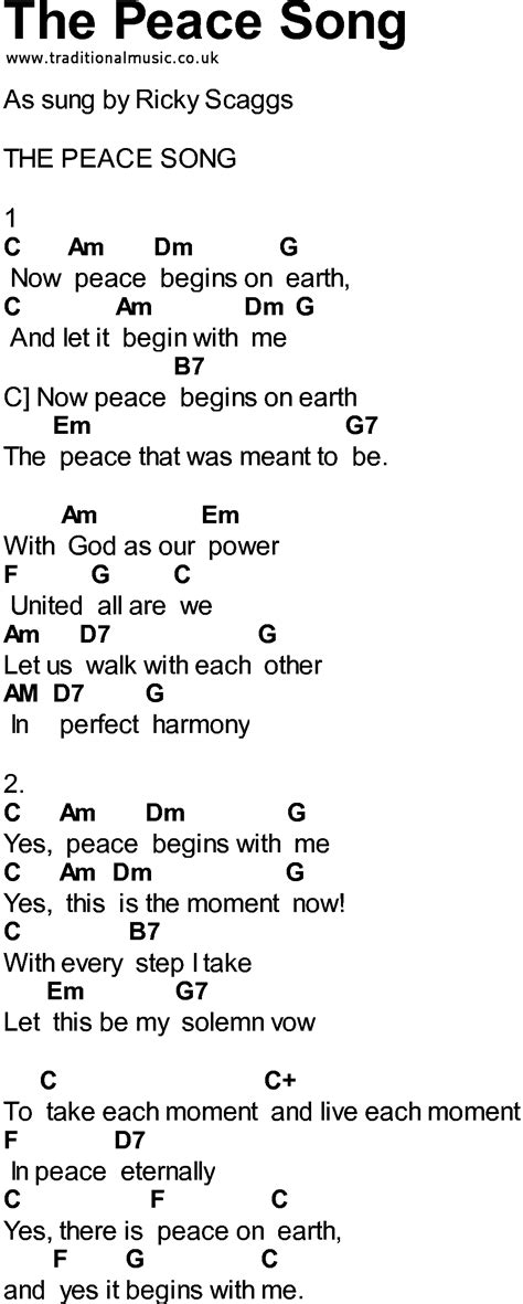 song of lyrics bluegrass songs with chords the peace song