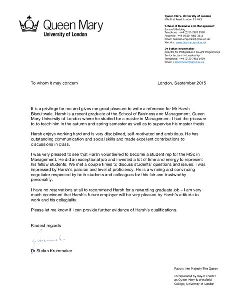 Letter Of Recommendation Business School qm reference letter