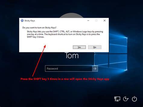 resetting keyboard keys windows 7 reset lost windows 10 password with sticky keys method
