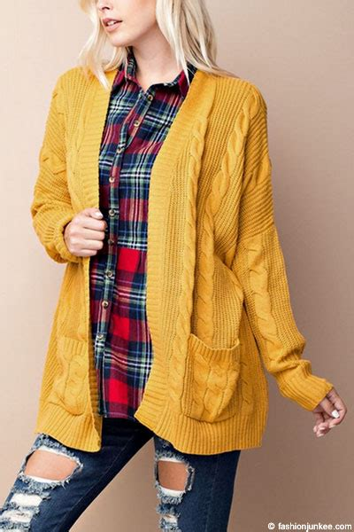 Cable Knit Open Front Cardigan cable knit sleeve open front cardigan sweater with