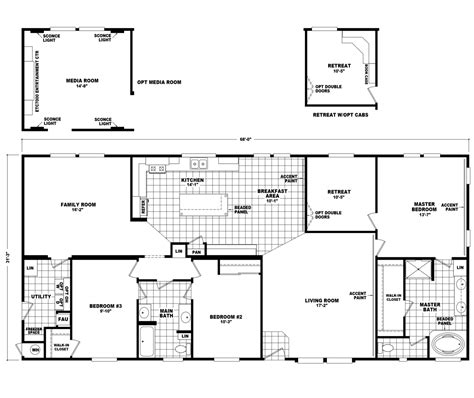 floor plane the pecan valley iii hi3268a manufactured home floor plan