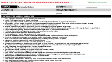 construction laborer description best resumes
