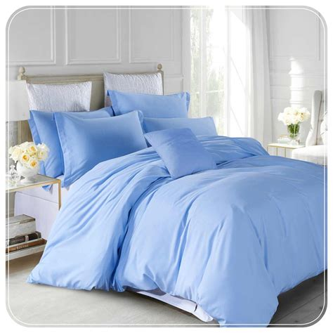 plain blue duvet cover set pillow cases plain bed s