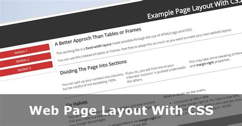 design a web page layout using css web page layout with css no tables or frames