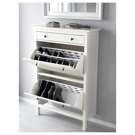 shoe furniture storage hemnes shoe cabinet with 2 compartments white 89x127 cm ikea