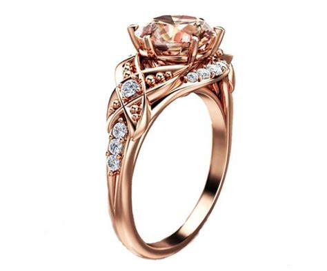 14k gold morganite ring unique engagement ring gold