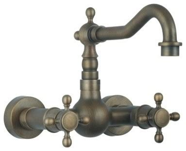 Antique Wall Mount Faucet by Handle Wall Mount Kitchen Faucet In Antique Brass