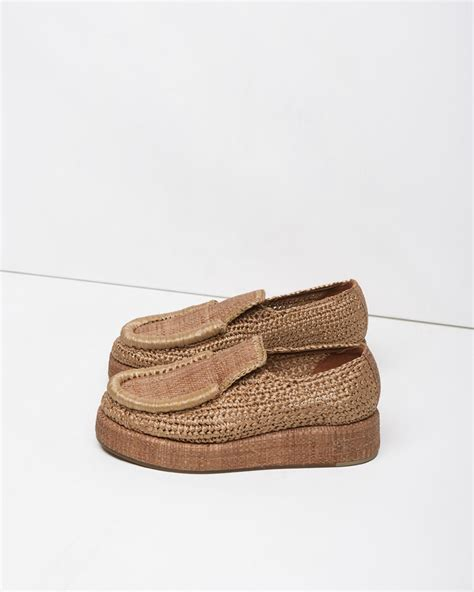 acne loafers lyst acne studios laurie raffia platform loafer in brown