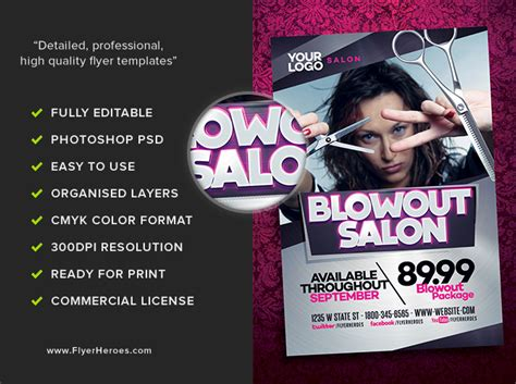 blowout hair salon flyer template flyerheroes