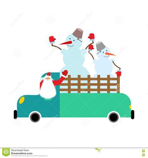 santa truck santa truck and snowmen car stock vector