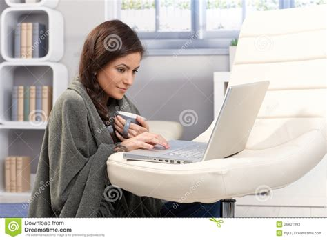 cold winter day with laptop at home stock image image