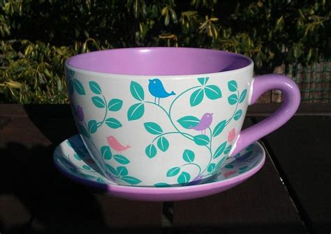 Cup And Saucer Planters by Tea Cup And Saucer Planter Coloured Bird And Leaf Design