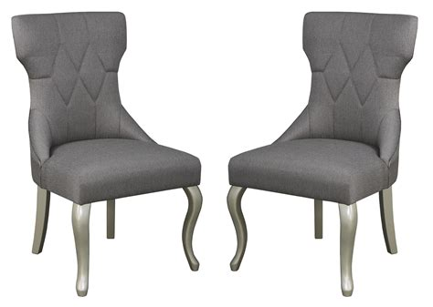 coralayne dark gray dining upholstered chair set of 2