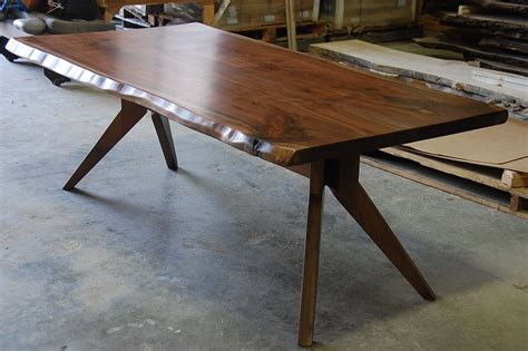 mid century modern trestle table made live edge slab dining table with modern trestle