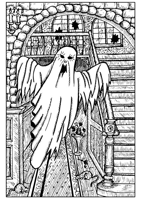 Ghost in a haunted house - Halloween Adult Coloring Pages