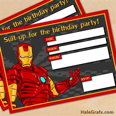 printable iron man birthday card free printable avengers iron man birthday invitation