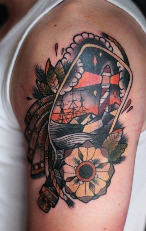old school nautical tattoo tattoo old school traditional nautic ink lighthouse in