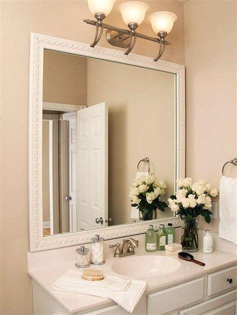 mirror trim ideas images  pinterest bathrooms