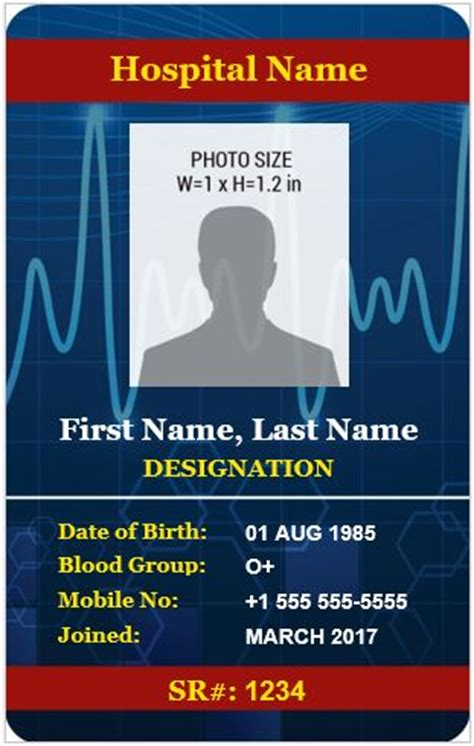 doctor id card template doctor s photo id badge templates for ms word word