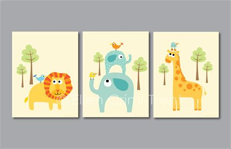 Kids Wall Art Zoo Animal Print Set Nursery Decor Zoo Animal Nursery Decor