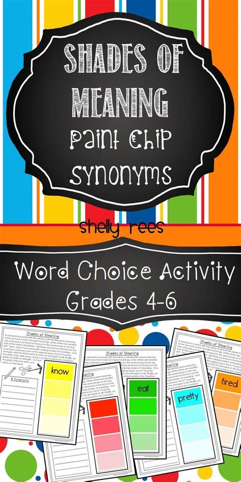 colorful synonyms 25 best ideas about synonym activities on