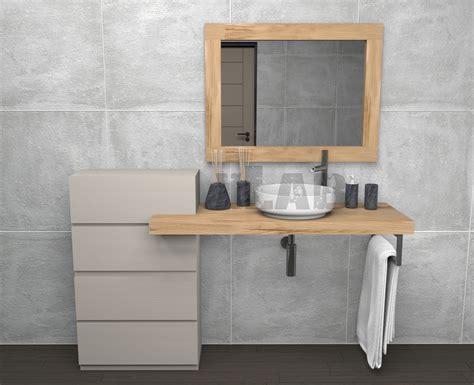 specchio con mensola per bagno mensola da bagno con cassettiera e specchio in legno di