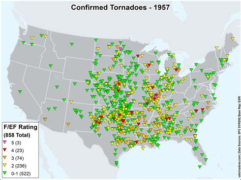 map of tornadoes today us tornadoes map1957 u s tornadoes