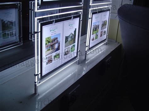 hanging light box display real estate agents acrylic led hanging window display