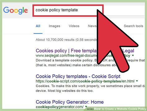 how to create a website cookie policy with sle cookie