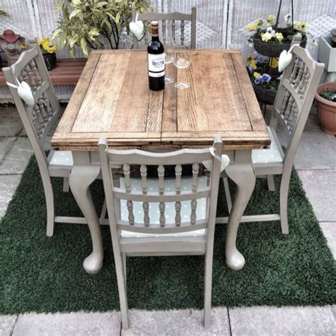 antique shabby chic draw leaf dining table in sloan