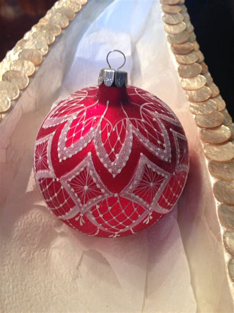 painted christmas balls painted lace ornament color