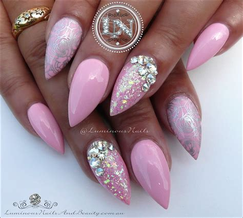 Pink Silver Nail luminous nails plush pink silver nails acrylic gel