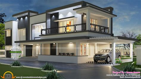 modern home design india modern flat roof house in tamilnadu house elevation