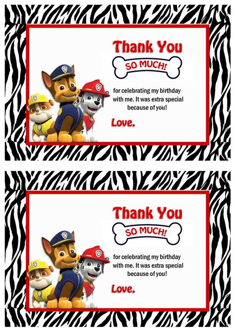 paw patrol thank you card template free printable lalaloopsy birthday cards