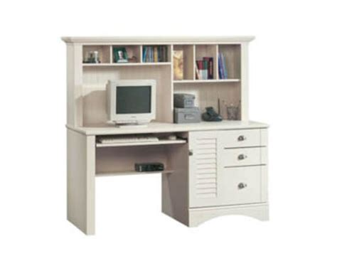 Sauder Harbor View Antiqued White Computer Desk With Hutch Menards Computer Desks