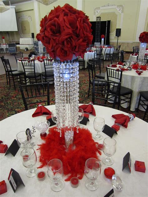 18th birthday party with red rose ball crystal
