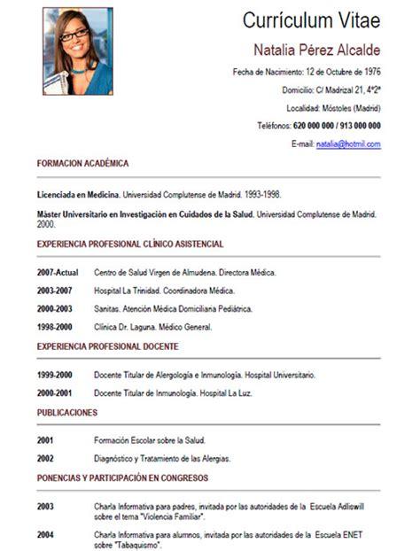 Modelo De Curriculum Vitae Medico Argentina Cv M 233 Dico Enfermera 12 Cvexpres